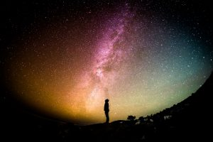 universe with silhouette