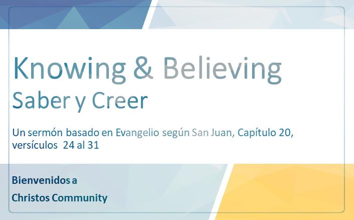 Saber y Creer – Juan 20:24-31